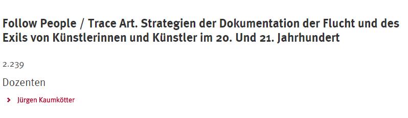 """07.12.2017 Uni Osnabrück, Seminarvortrag zu WER VERSTEHT DAS SCHON?© im Seminar """"Follow People/Trace Art"""" mit Kurator Jürgen Kaumkötter"""